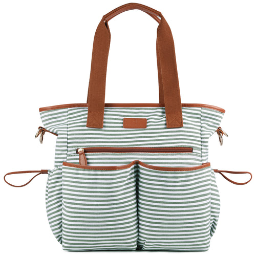 Plambag Striped Diaper Bag Baby Nappy Tote Shoulder Bag With Changing Pad