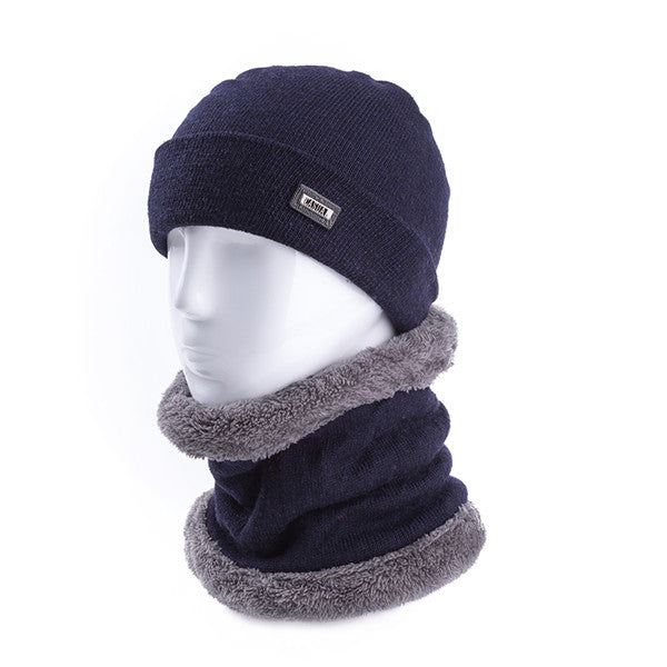 2Pcs/Set High Quality Men Soft Wool Warm Winter Hats & Ring Scarf Men And Women Cashmere Beanie Cap Solid Knitted Hat