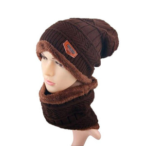 2 pcs Unisex Beanie Hats Women Men Winter Warm Knitted Hat Cap Skullies Beanies Circle Scarf Solid Fur Skullies Beanies Bonnet