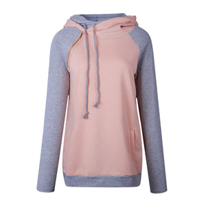 Women's Funnel Neck Collar Oblique Zipper Casual Tunic Long Sleeve Hoodie Pullover Sweatshirt for Autumn Winter