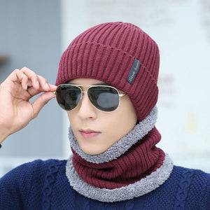 Neck Warmer Winter Hats for Men Thick Warm Fleece Mask Scarf Sets Male Skullies Beanies Knit Cotton Caps Fashion Knitted Beanie