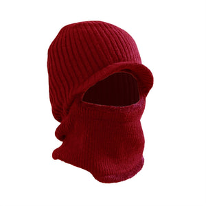 Winter Warm Mask Hat Windproof Knitted Hat Visor Beanie Neck Warmer Hat for Men Women