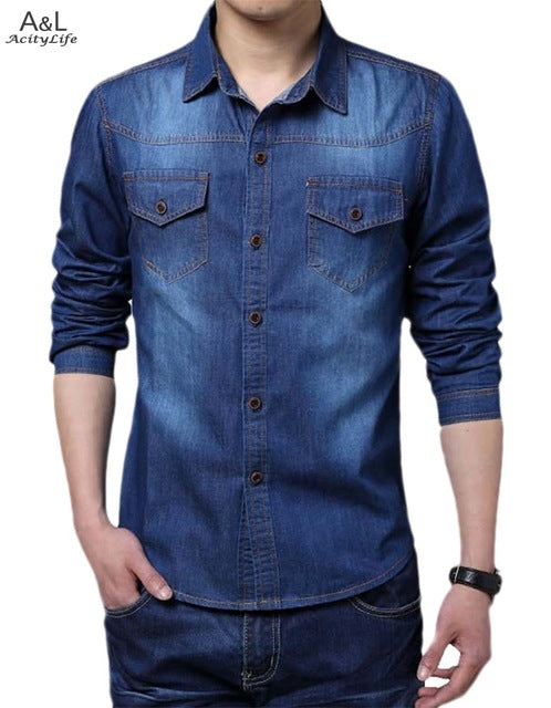 Big Size Men Shirt Denim Large Size 5XL Cotton Turn-down Collar Button Pockets Men Jeans Shirts 2018 New Autumn Long Sleeve Blue