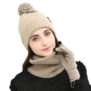 Warm Cap Winter Wool Knitted Hat Skullies Beanie Thick Balaclava Face Mask Scarf Touching Screen Gloves Set Beanies Bonnet Q4