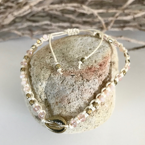 GOLD COWRIE SHELL & IVORY COTTON BRACELET
