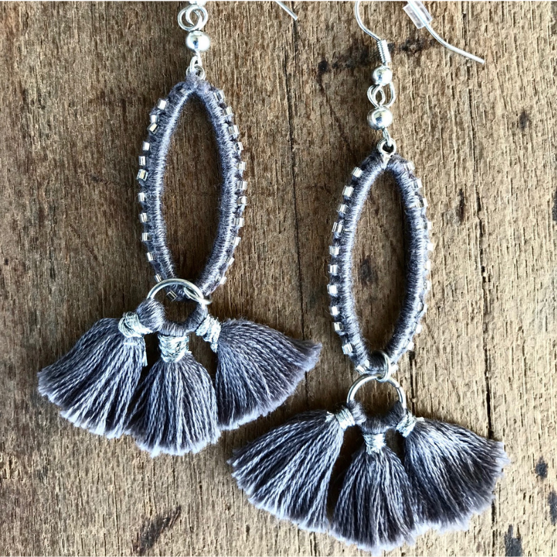ASHEN HAND STITCHED EARRINGS