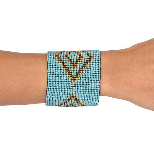 Beaded Cuff in Turquoise Colour