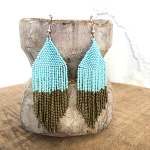 TURQUOISE BEADED EARRINGS