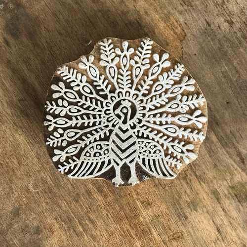 WOODEN PEACOCK BLOCK STAMP