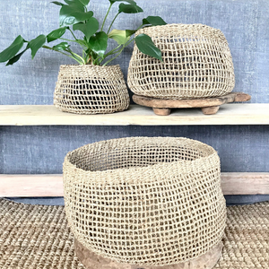 ARTISAN SEAGRASS POT BASKET EMILY