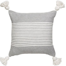 MOROCCAN POM POM CUSHION GREY & WHITE STRIPE