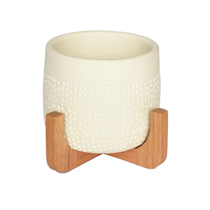 PEPE POT - WHITE & NATURAL WOOD