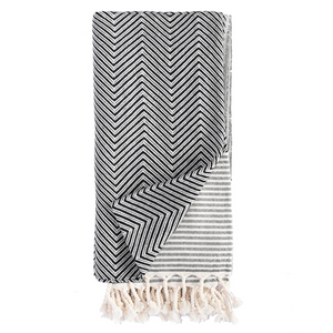 TURKISH HAMAM TOWEL CHEVRON - BLACK