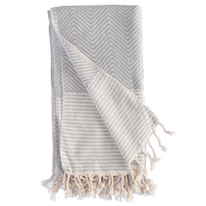 TURKISH HAMAM TOWEL CHEVRON - GREY
