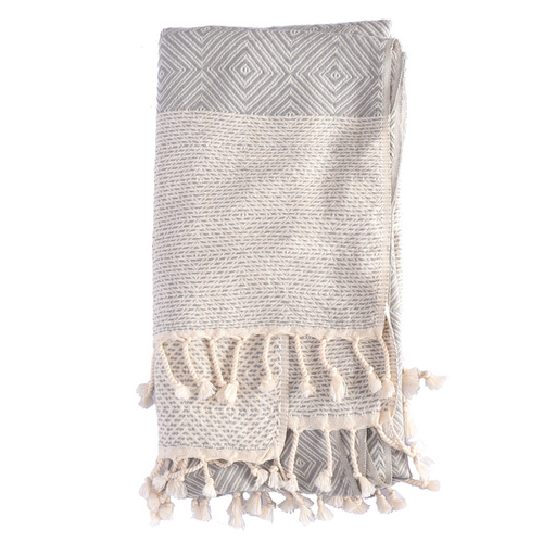 TURKISH HAMAM TOWEL DIAMOND - GREY