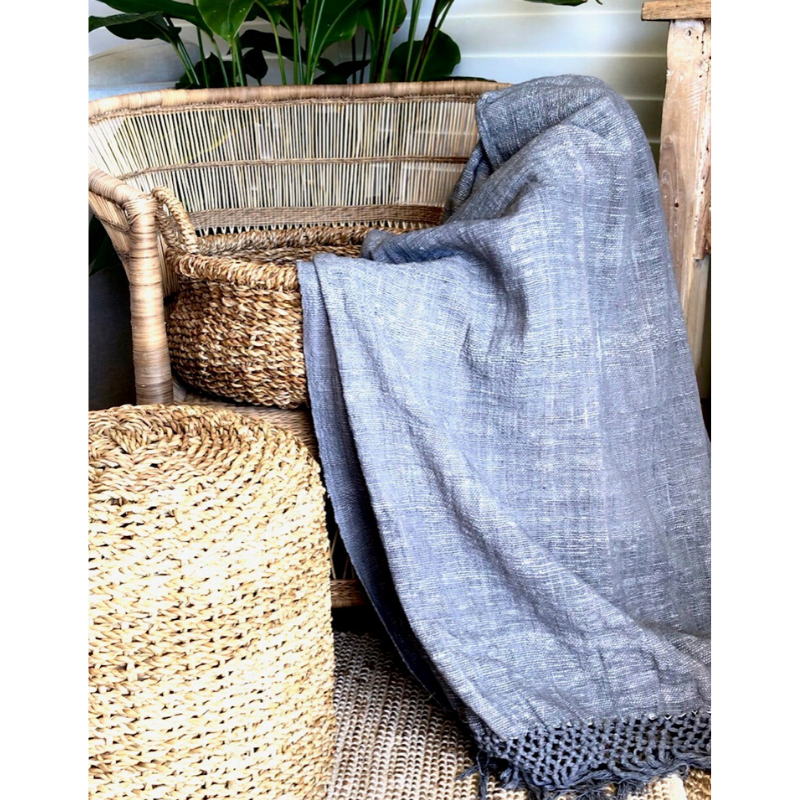 PURE COTTON BLANKET / THROW - CHAMBRAY