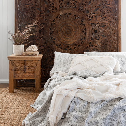 CARVED WOODEN WALL PANEL OR BED HEAD