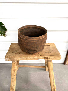 OLD WOODEN POT LARGE - 1