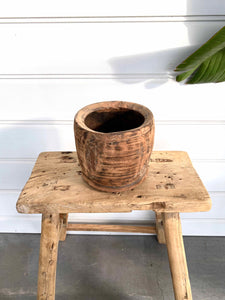OLD WOODEN POT SMALL - 7