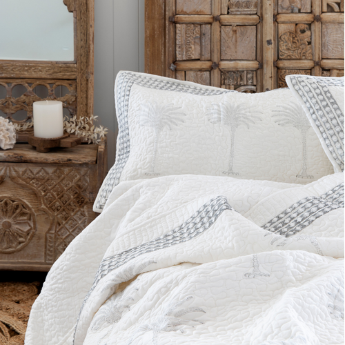 PALM TREE QUILTED BEDSPREAD SET - QUEEN