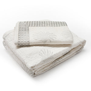 PALM TREE QUILTED BED SET - KING PLUS