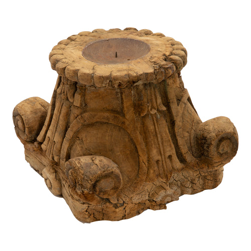 VINTAGE INDIAN PILLAR BASE - CANDLE STAND