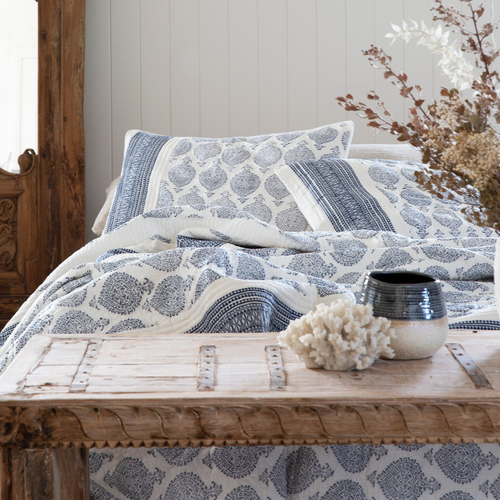 TEJAS QUILTED JACQUARD BED SET - QUEEN