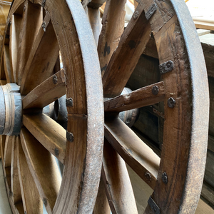 OLD INDIAN WOOD & IRON WAGON WHEELS