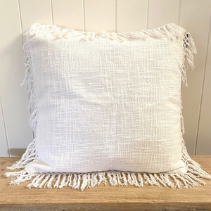 WHITE COTTON CUSHION WITH MACRAME EDGE