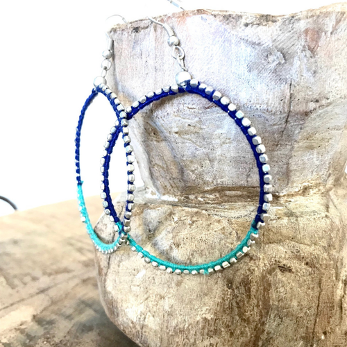 HOOP INDIGO & TURQUOISE STITCH EARRINGS