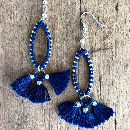 INDIGO HAND STITCHED EARRINGS