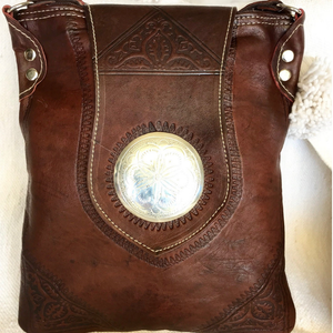 BEDOUIN MOROCCAN LEATHER BAG IN DARK BROWN - SMALL