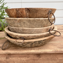 BLEACHED WOODEN BOWL WITH IRON RINGS - LARGE