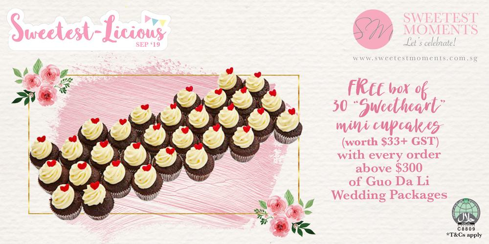 Free 30s wedding mini cupcakes with purchases of Guo Da Li packages above $300