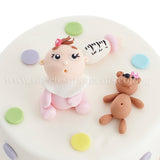 CFR19 Oh Baby Baby Sweetest Moments Full Month Cake Fondant Girl Pink