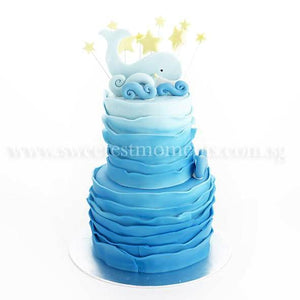 CKR34 2-Tier Wavy Ocean Sweetest Moments Birthday Cake Fondant