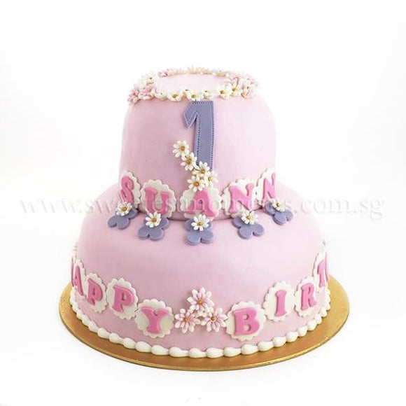 CKR11 2-Tier Flora Bouquet Sweetest Moments Birthday Cake Fondant