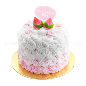 CRR03 Longevity Peach Rosette Cake sweetest moments buttercream vanilla sponge cake