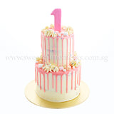 CFR22-2 Tier Pastel Love sweetest moments moist chocolate red velvet cake 1st birthday kids drip naked