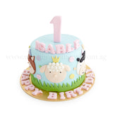 CFR18 6 INCH Farm Animals Crossing Sweetest Moments Full Month Cake Fondant