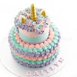 CKR37 Ombre Unicorn Sweetest Moments Birthday Cake Buttercream 2 tier