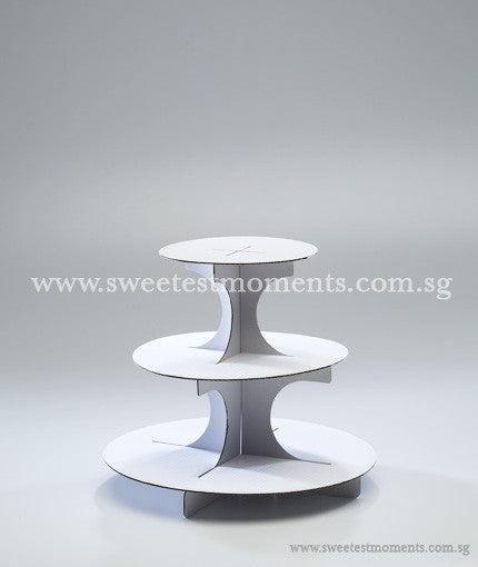 3-Level White Cardboard Tier Sweetest Moments Cakes Cupcakes Display Dessert Table
