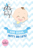 DIY Dessert Table Pack Sweetest Moments Full Month 100th Day Classic Boy A0 Poster