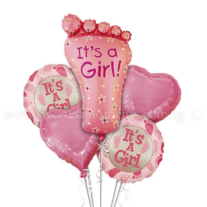 BB08 It's a Girl Baby Foot Balloon Bouquet