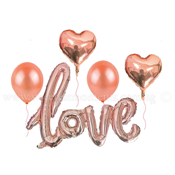 BB14 Champagne Pink LOVE Hearts Balloon Bouquet