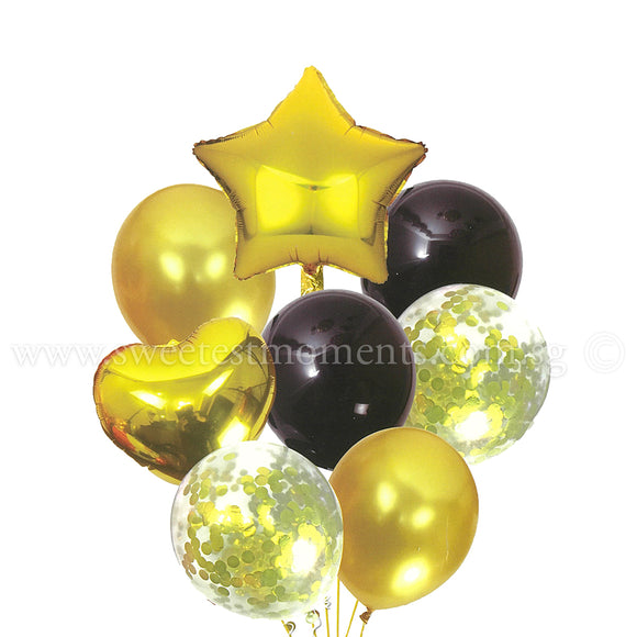 BB11 Gold & Black Star & Heart Balloon Bouquet