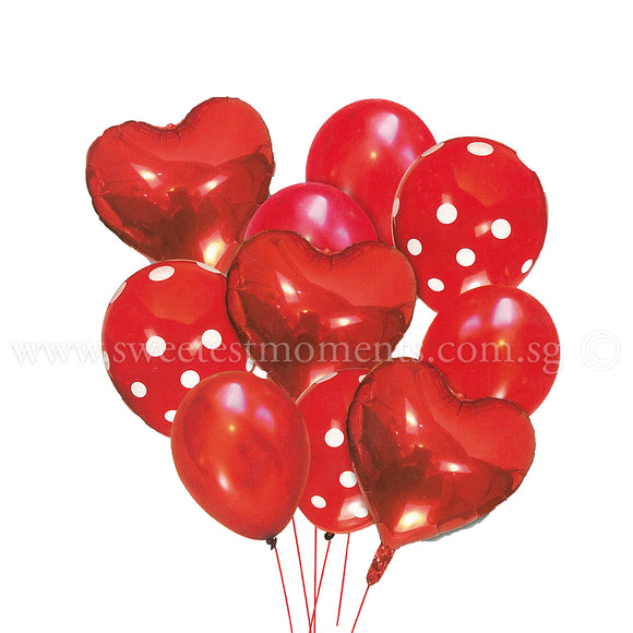 BB13 Red Hearts Balloon Bouquet