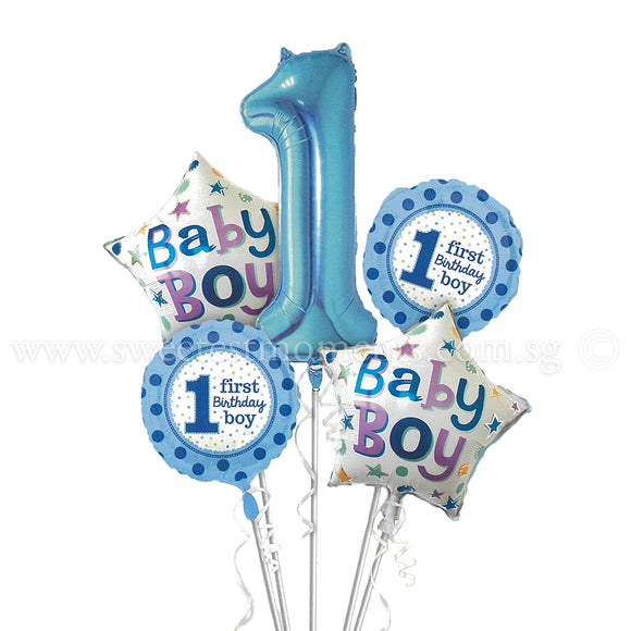 BB03 Baby Boy 1st Birthday Balloon Bouquet