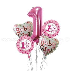 BB04 Baby Girl 1st Birthday Balloon Bouquet
