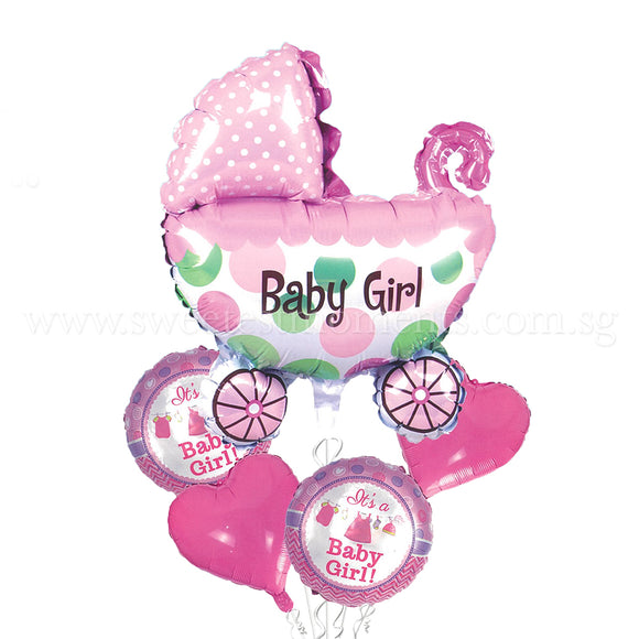 baby girl stroller balloon bouquet sweetest moments full month celebration